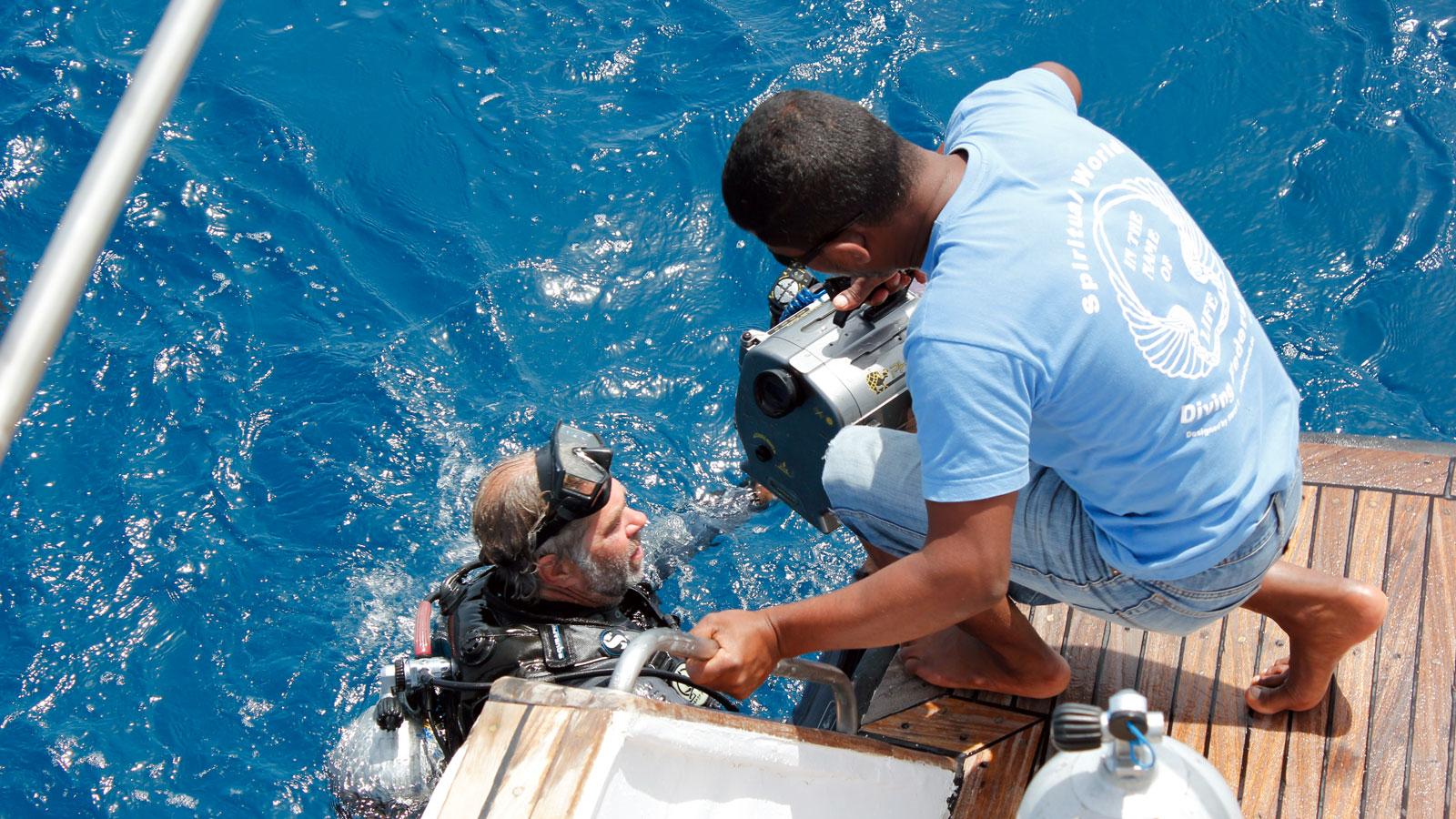 Dolphin Watch Natural Underwater Science unterstützt die Filmaufnahmen
